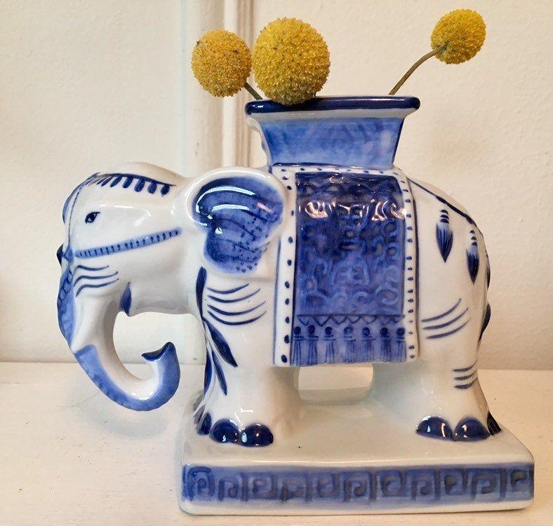 Rare Vintage or Antique Vietnamese Porcelain Vase of Decorated White Elephant Unique Animal Decor