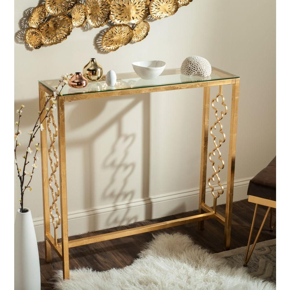 Glass console table with mirror jovanna antique gold leaf glass top console table  pinterest