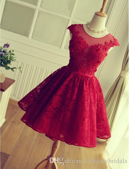 Großhandel 2016 Red Lace Prom Kleider Short Mini Rock Sheer Neck ...