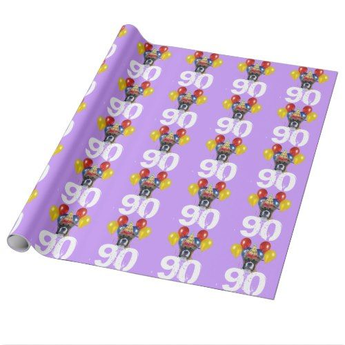 90th Birthday Boxer Dog Purple Gift Wrapping Paper