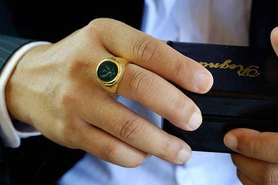 Signet Ring Genuine Bloodstone Engraved Noble Crest Seal Gold Etsy Signet Ring Mens Rings For Sale Bloodstone