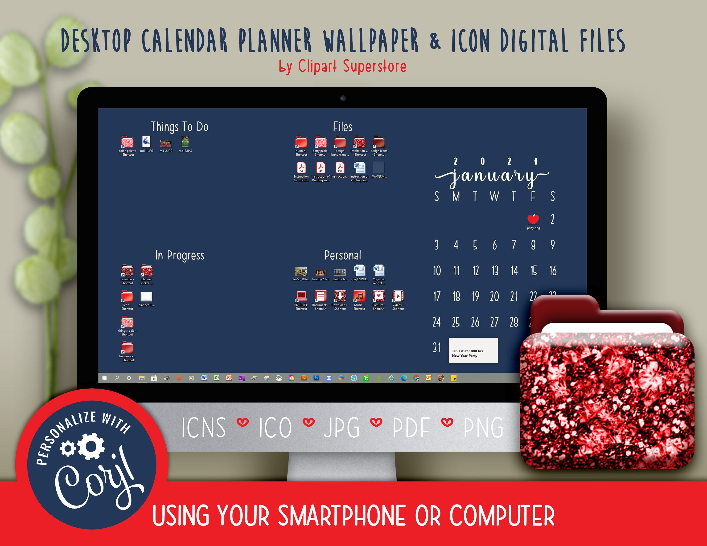 2021 Desktop Calendar Wallpaper Organizer Planner and Icon