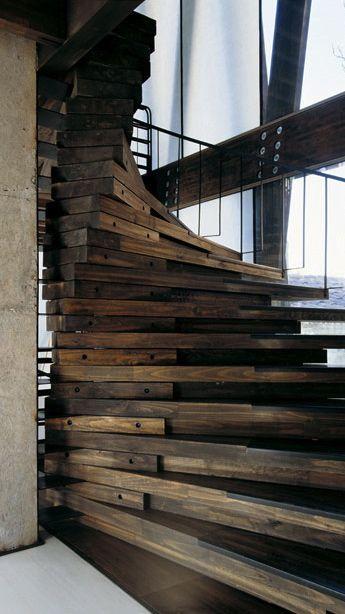Best ˚Half Spiral Staircase Stairway Rustic Stairs Wood 400 x 300