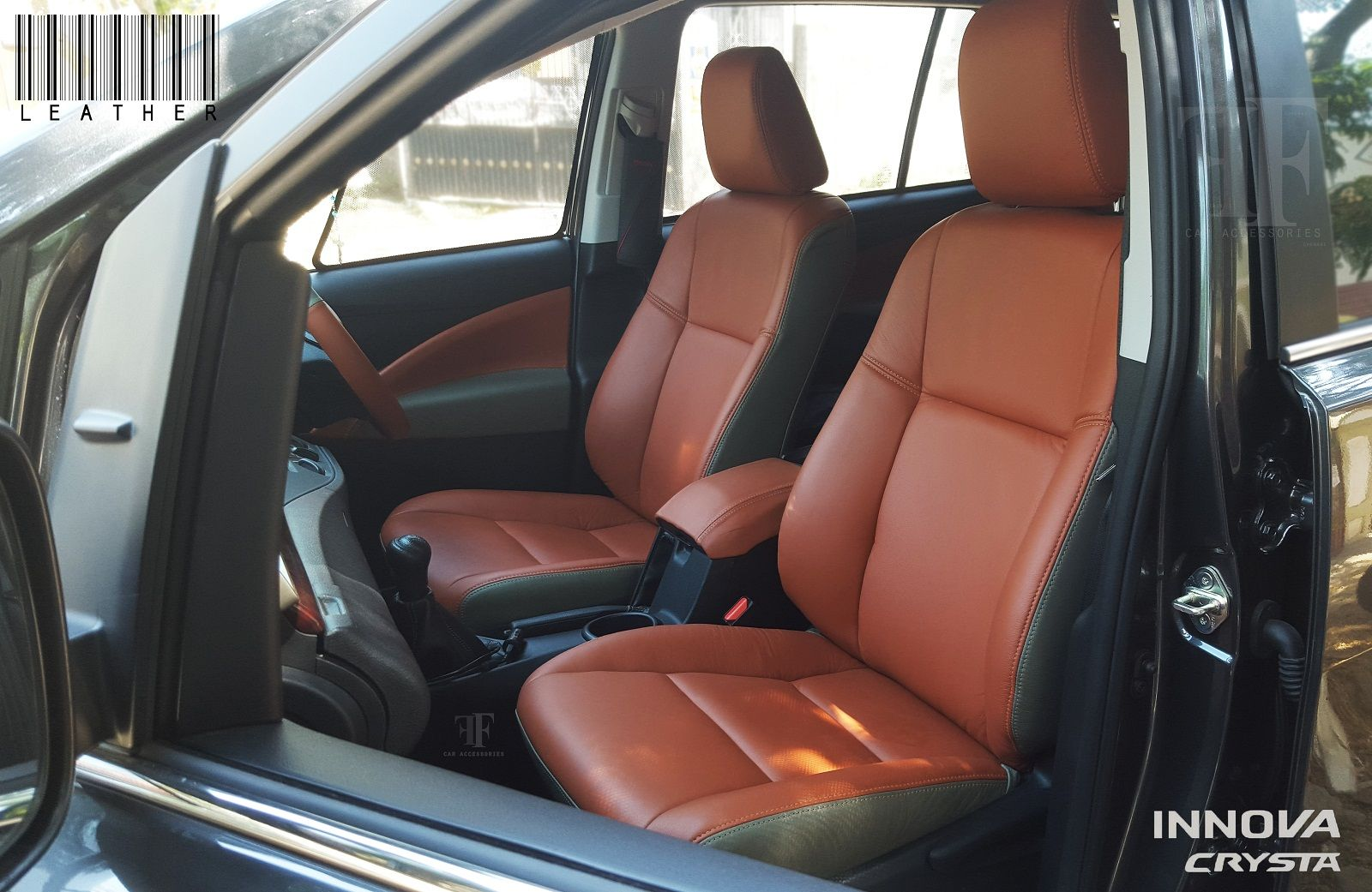 Pure leather seat cover for Toyota Innova Crysta. Installation done ...