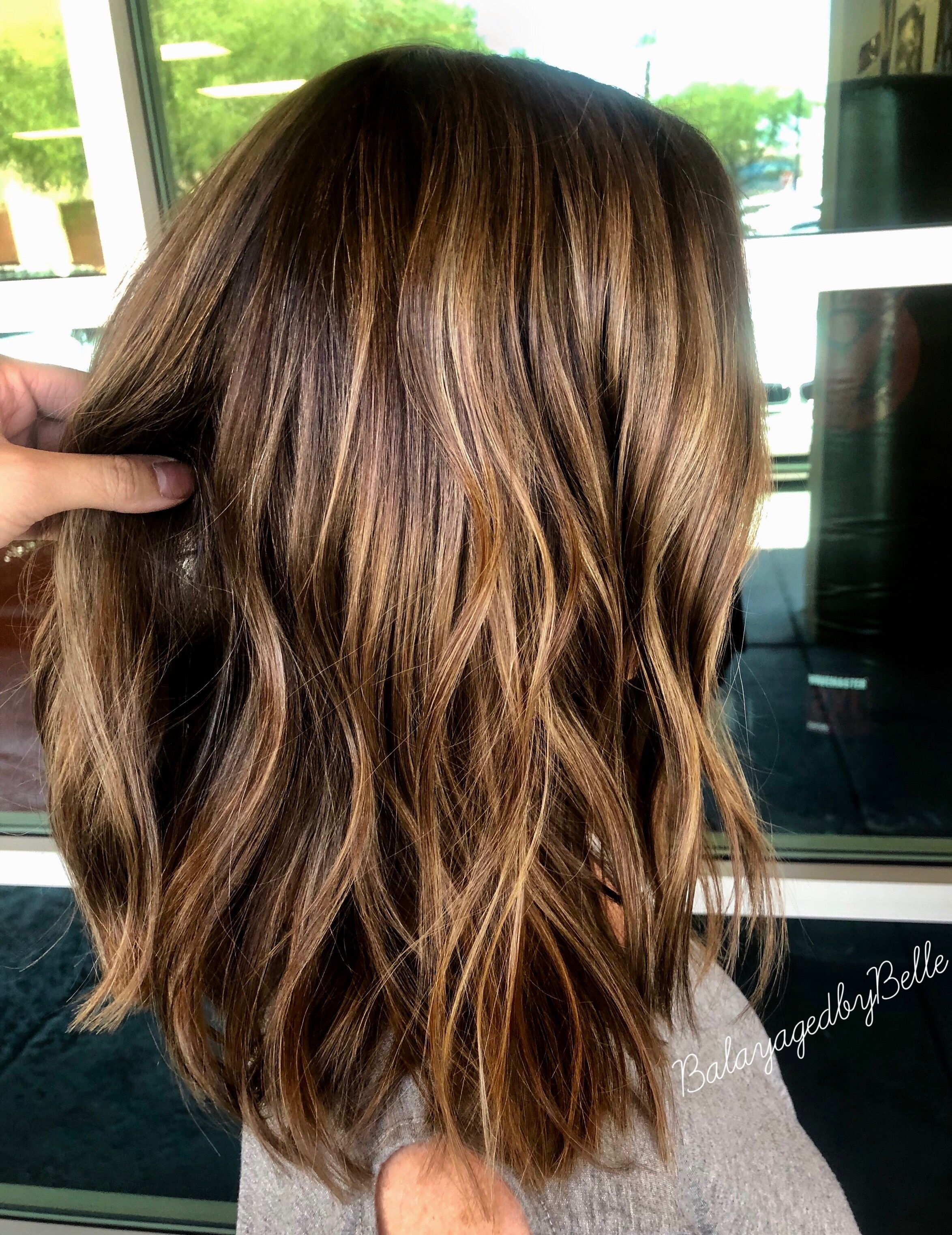 Brunette balayage, golden brown, warm brown  Brunette
