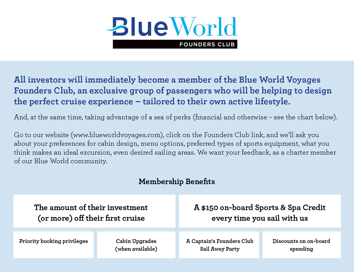 Blue World Voyages Revolutionary New Cruise Line 100 Focused On Sports Wellness Wefunder Voyages Cruise Revolutionaries
