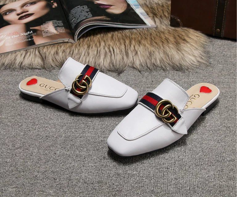 replica gucci leather slipper white with double G and web and heart $77