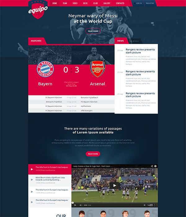 Equipo Responsive Football Sports HTML Template | Web site | Pinterest