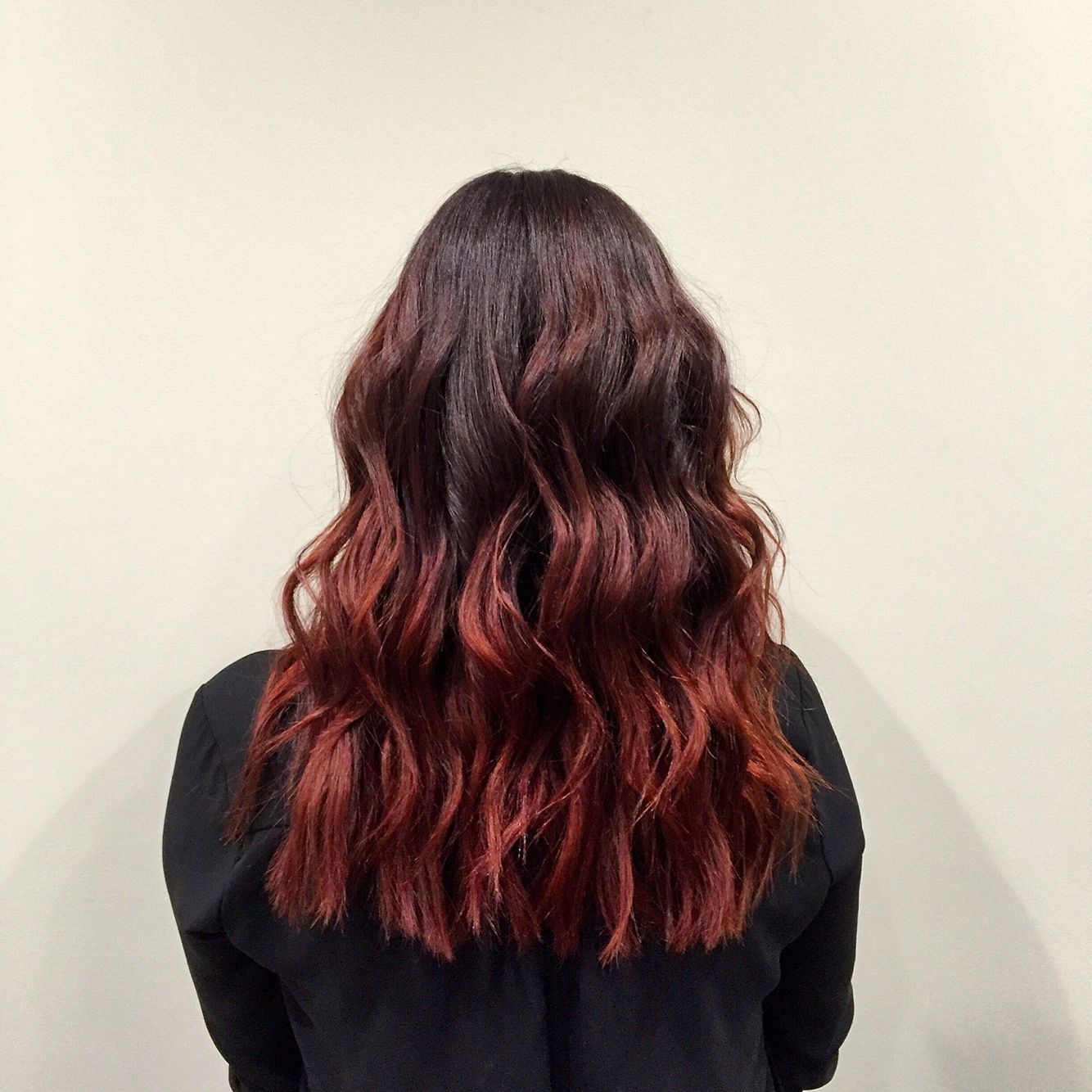Red redhair ombre waves hairstyle redorangehair workflow