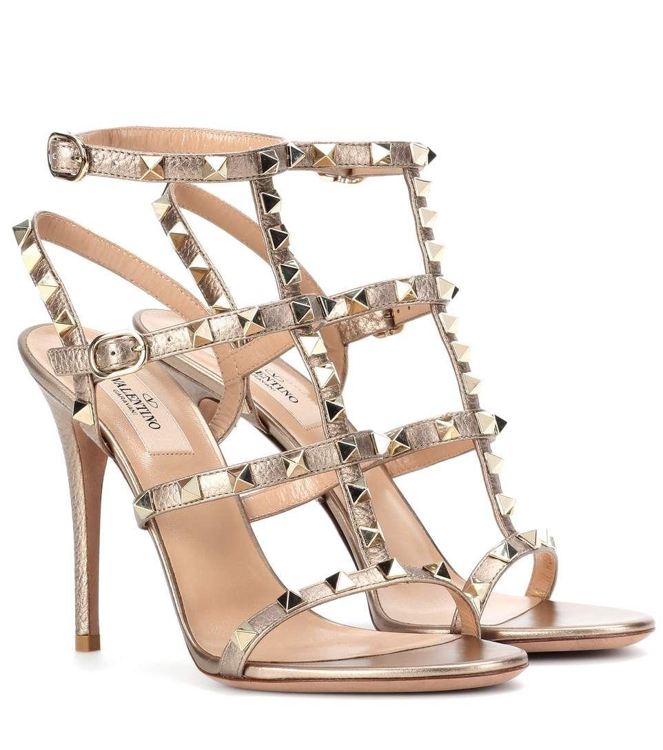 reputable site 0c3e3 b996e VALENTINO Valentino Garavani Sandaletten Aus Metallic-Leder.  valentino   shoes  sandalen