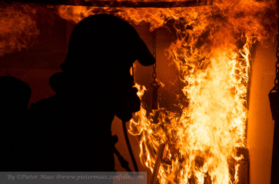 As the title explains. Pictures of firefighters with fire.