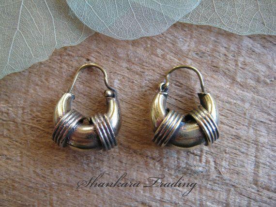 Tribal Brass Hoop Earrings, Small Hoop Earrings, Tribal Jewellery, Ethnic Earrings, Brass Jewelry