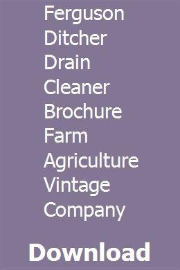 Ferguson Ditcher Drain Cleaner Brochure Farm Agriculture ...