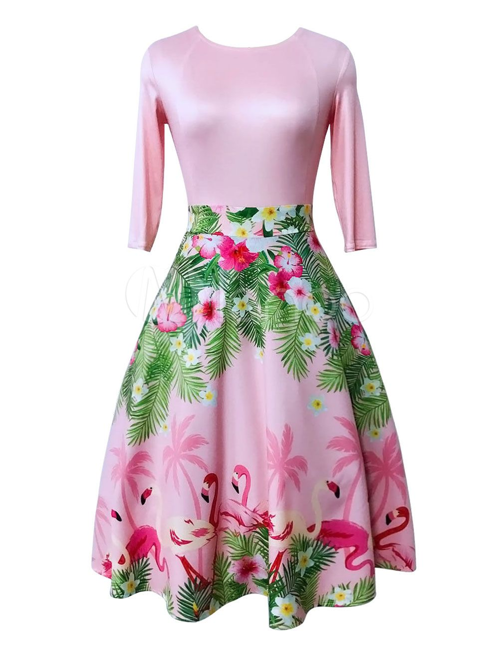 5d01c2de350ed Pink Vintage Dress Round Neck Half Sleeve Flamingo Floral Print A Line  Dresses For Women