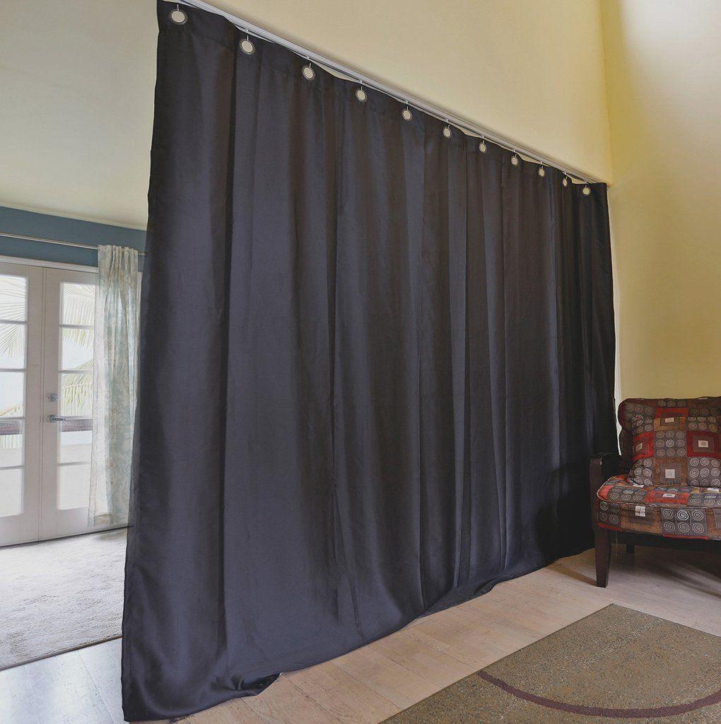 Black ceiling track room divider kits easy privacy room planning