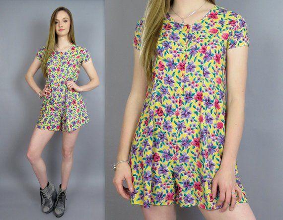 bc95916bca8d Vintage 90s Romper Yellow Floral Print Playsuit Jumpsuit Mini Culottes  Shorts One Piece Outfit Short