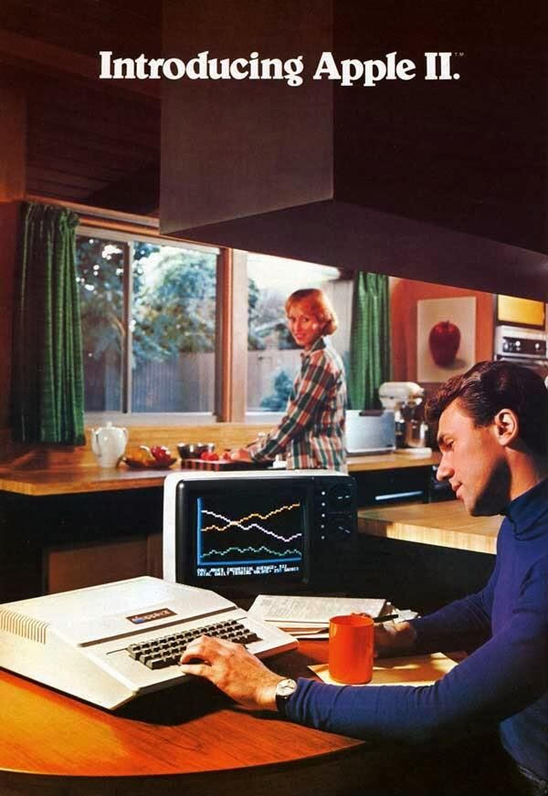 Vintage Apple ad in the 1970s and 80s.
