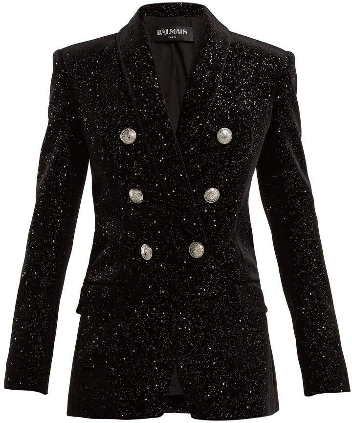 575481213b422 Double-breasted glitter velvet blazer #glitter#slim#silver   Fashion ...