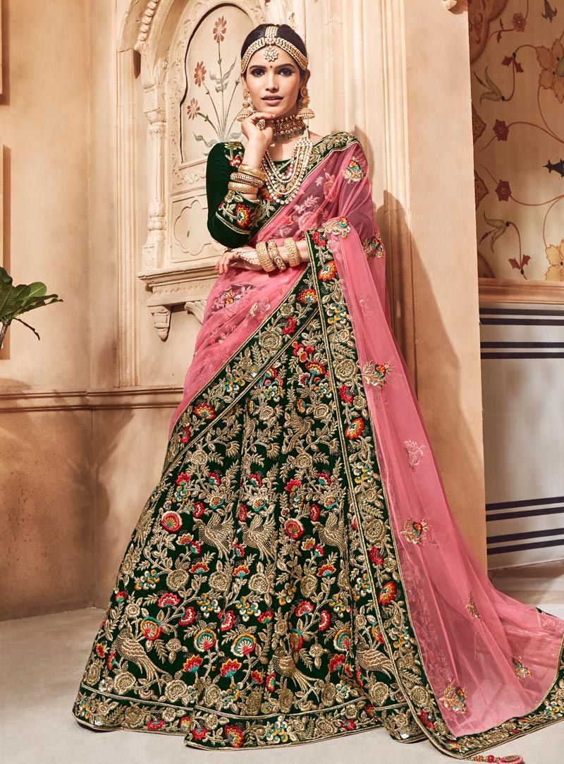 c5cd1b7353b Buy Green Velvet Circular Lehenga Choli 146950 online at best price from  vast collection of Lehenga