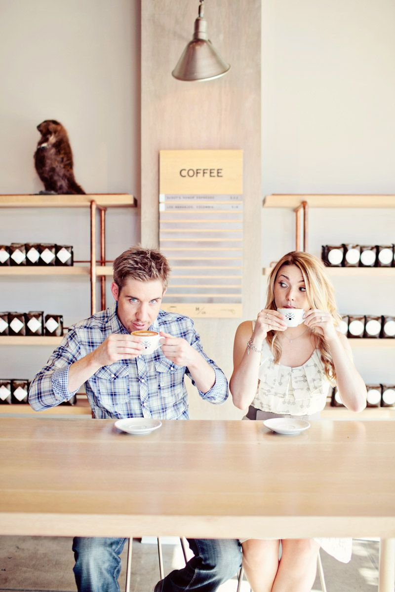 super cute coffee shop engagement session by Heather Kincaid