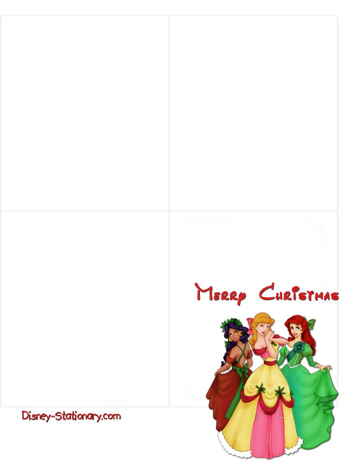 Free Printable Christmas Cards Princesses 2 Disney Card