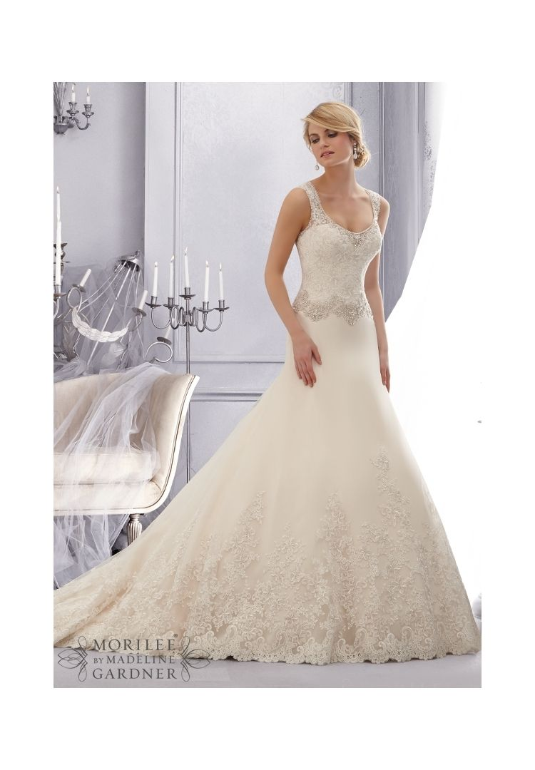 Embroidered lace wedding dress  Wedding Dress  Elegant Embroidered Lace Trimmed with Crystal