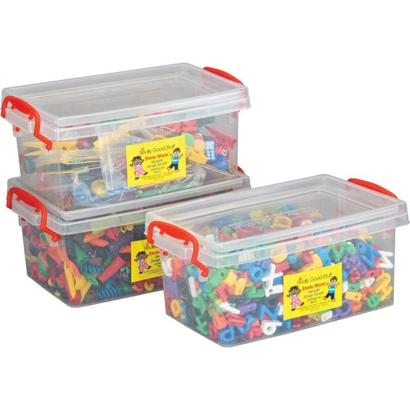 Stackable Storage Tubs With Locking Lids, Med