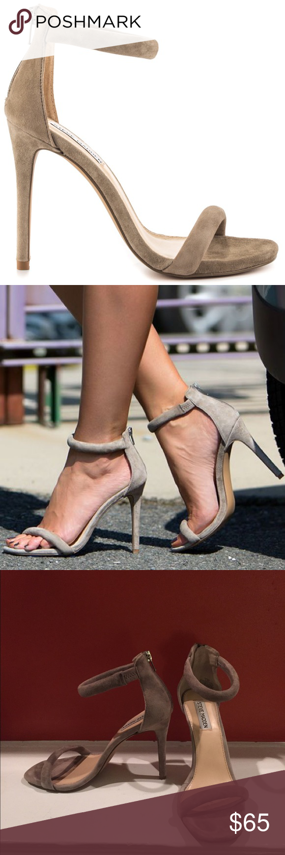 Steve Madden Fancci Suede Sandal Heels Taupe 8.5 Steve Madden Fancci suede sandal heels in taupe size 8.5. Worn less than 5 times this summer! Unavailable online. Steve Madden Shoes Heels