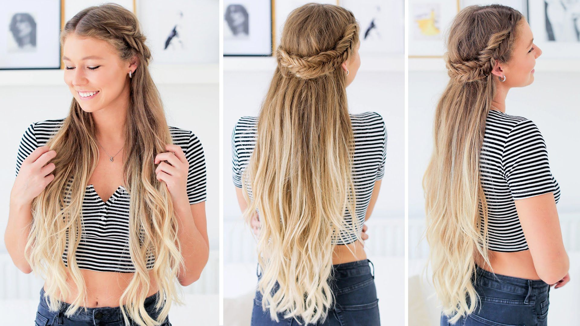 Fishtail Half Updo Hairstyle Luxy Hair Half Updo Hairstyles Long Hair Styles Half Up Hair