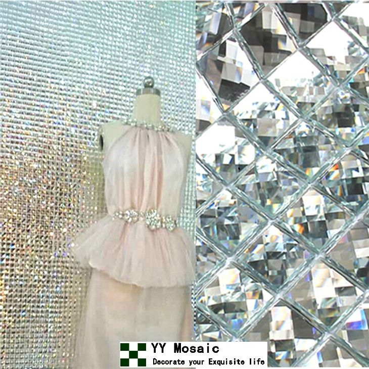 How To Decorate A Mirror With Mosaic Tiles 13 Beveled Edges Diamond Cut Crystal Glass Mirror Mosaic Tiles