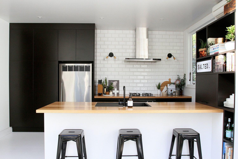 Black, white and wood. Love those wall lights! (Talia O\'Connor ...