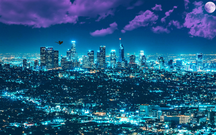 Download Wallpapers Los Angeles 4k La Skyscrapers Cityscape Metropolis Usa Night City Besthqwallpapers Com City Wallpaper Cityscape Cityscape Wallpaper