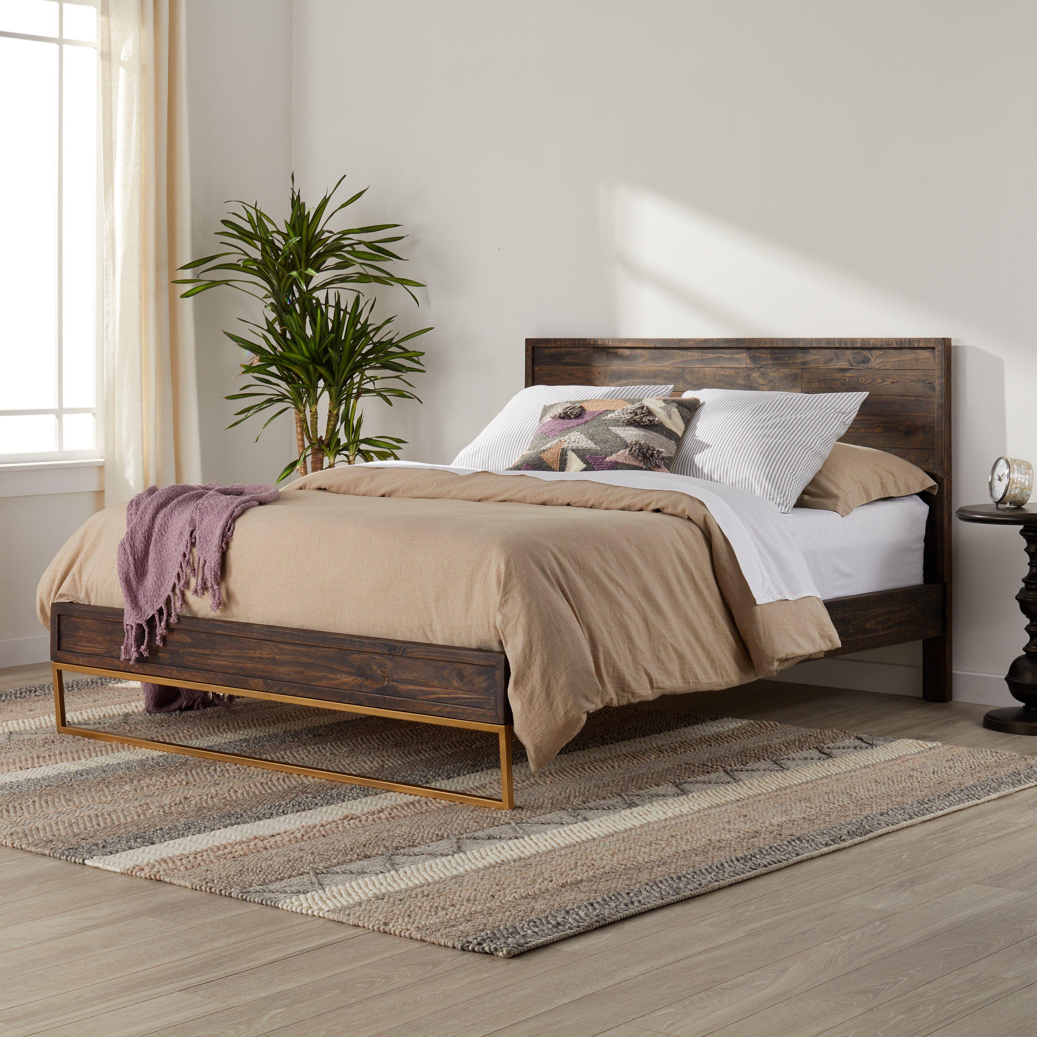 Strick Bolton Monterey Reclaimed Pine Steel Queen Bed Frame