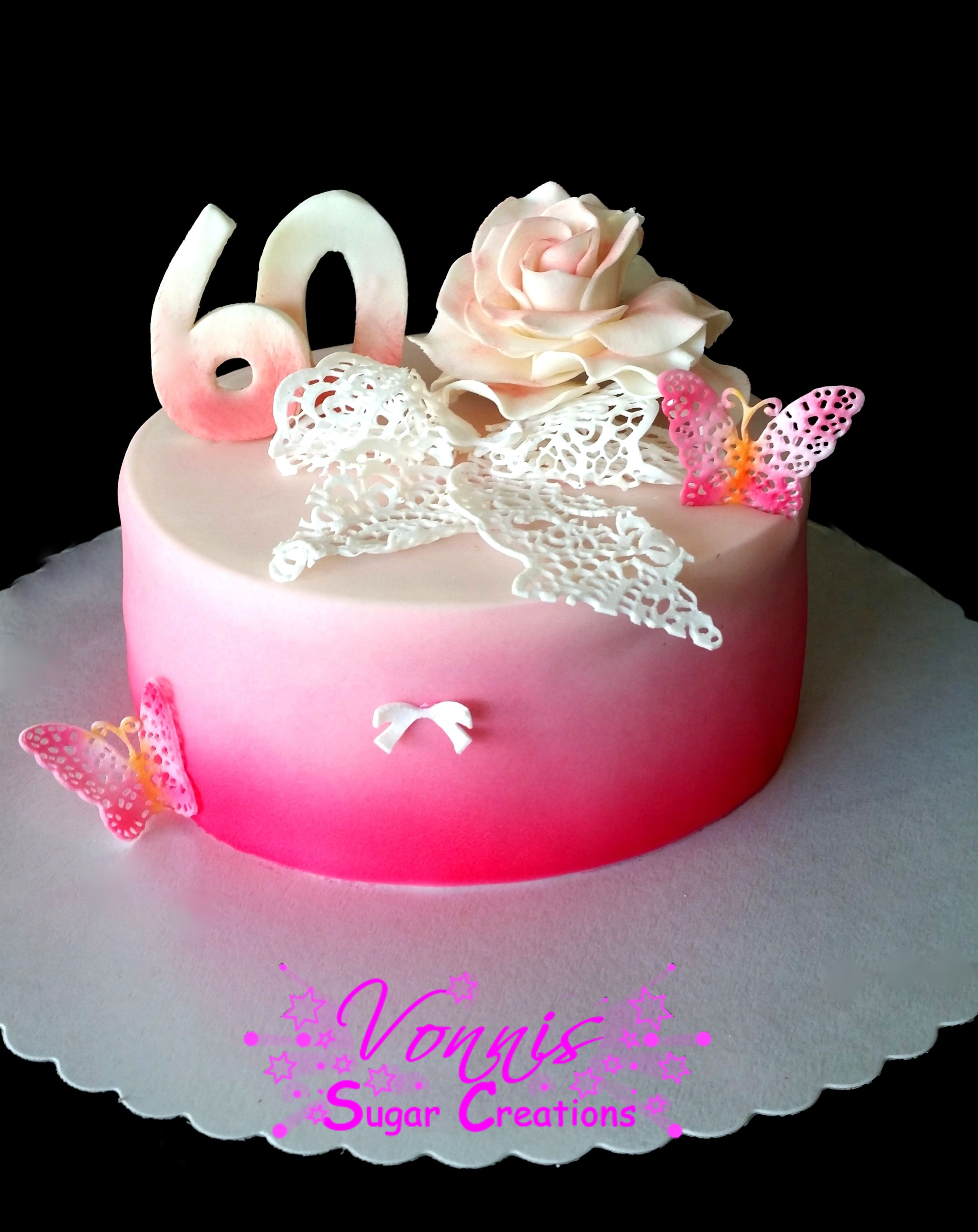 60 bithday cake cake lace airbrush fondant butterfly bow rose 60 geburtstag kuchen torte. Black Bedroom Furniture Sets. Home Design Ideas
