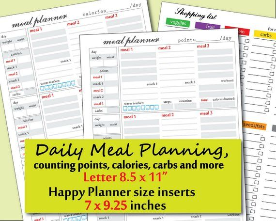 printable daily food journal template points and calories tracker