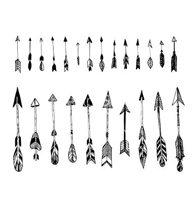 set of hand drawn arrows ethnic arrow vector art pinterest