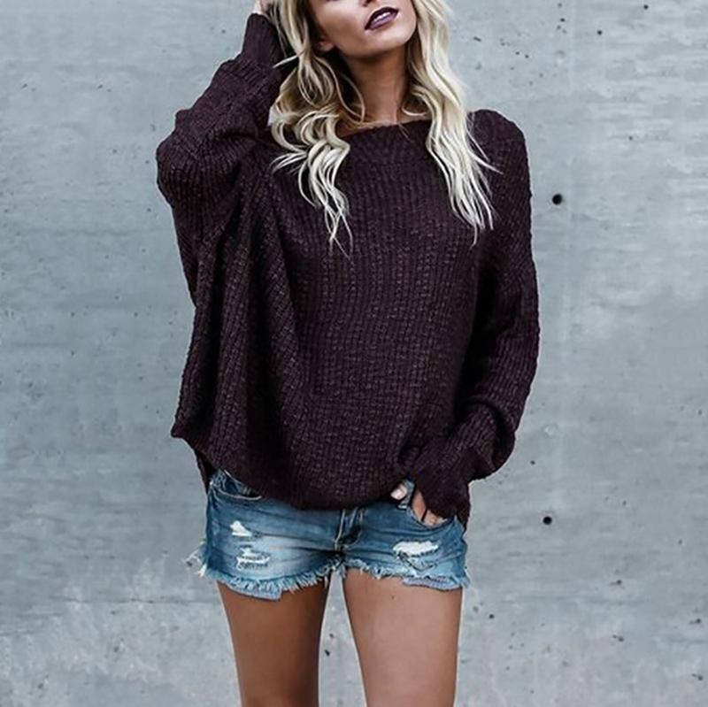 Women Loose Casual off Shoulder Sweater Boat Neck Long Sleeve Knitted Blouse Top
