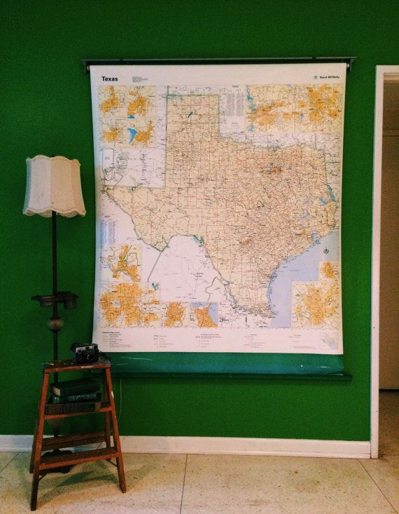 WORKING Extra Large Texas pull down map wall map world map