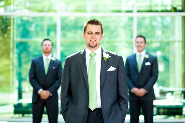 Dark grey suit and mint tie - simply divine | Top Wedding Trends ...