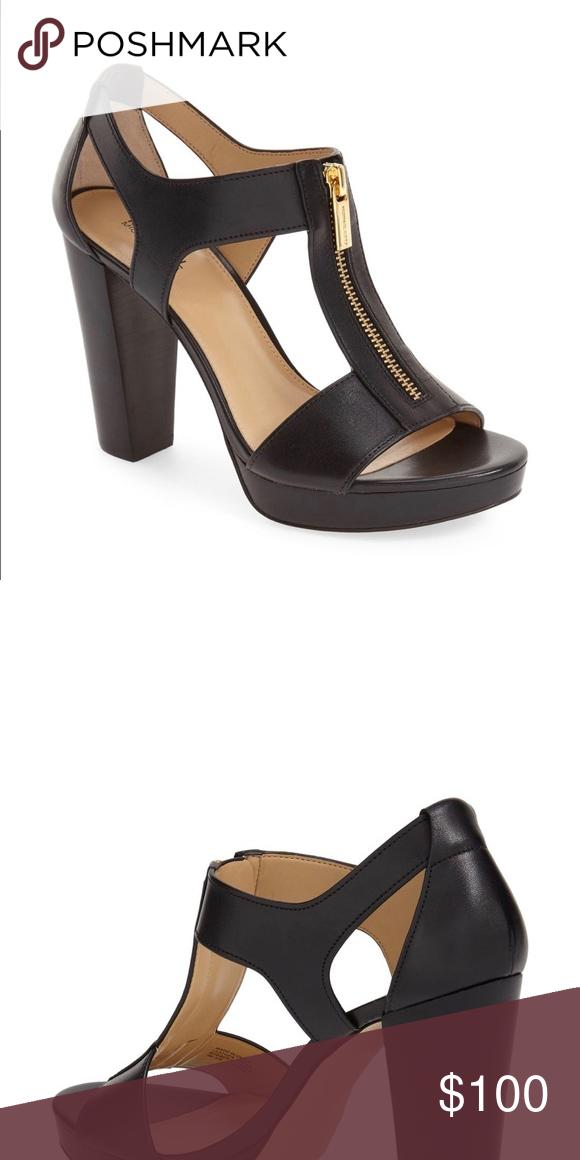 MICHAEL KORS Like new Berkley T-strap Platform open toe heels, worn twice  Like new Minimal sole wea...