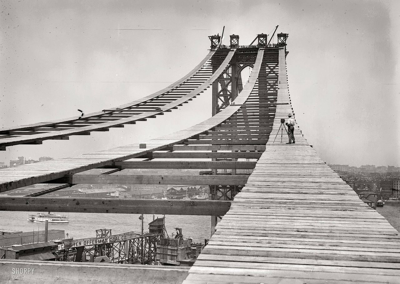 Manhattan Bridge during construction. July 15, 1908