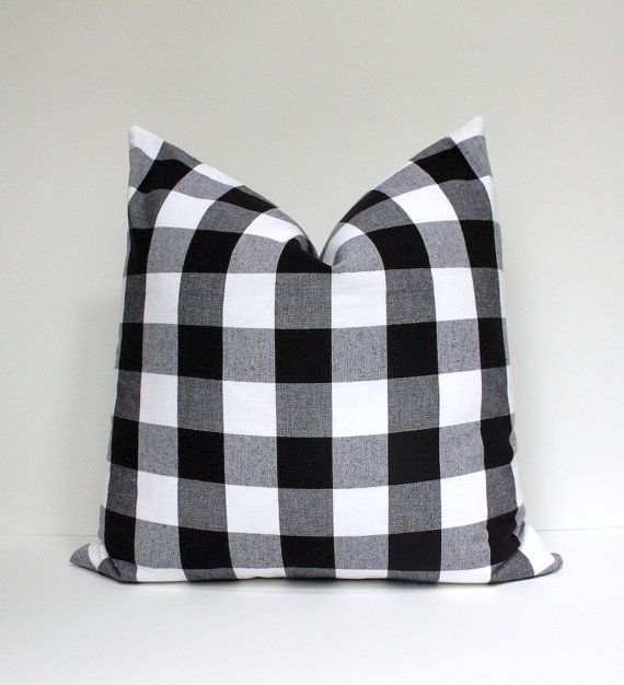 Modern Buffalo Check Designer Pillow Cover Black White Accent Throw Cushion Tartan With Images Designer Decorative Pillows Designer Pillow Pillow Cover Design