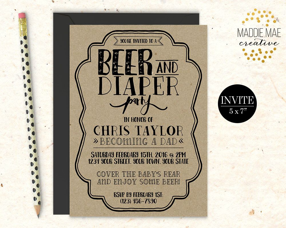 Rustic Kraft Beer Diaper Party Invitation Daddy Shower