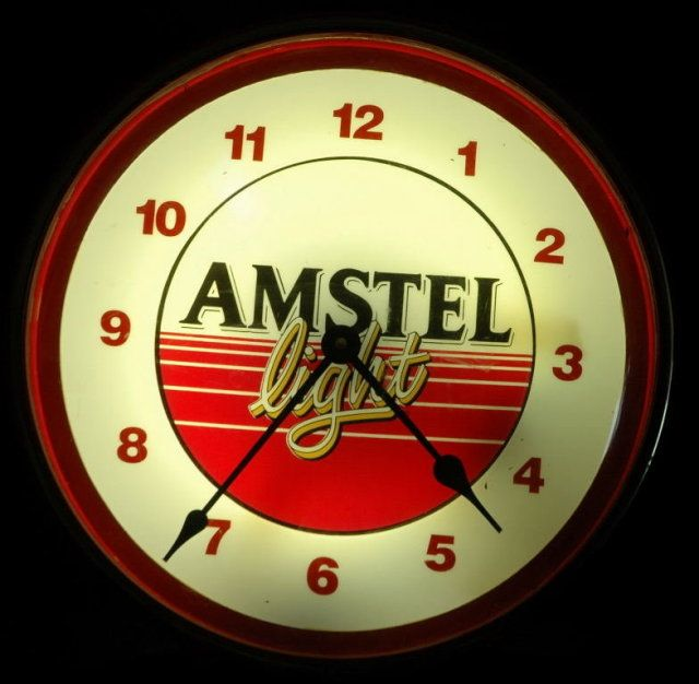 Amstel Lighted Beer Sign Clock Vintage It Is Amstel Light Beer