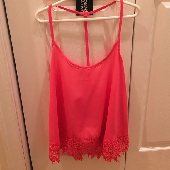 3d60c1b83334e9 Bright Colored Tank Top Beautiful bright tank top with lace trim at bottom. Perfect  for