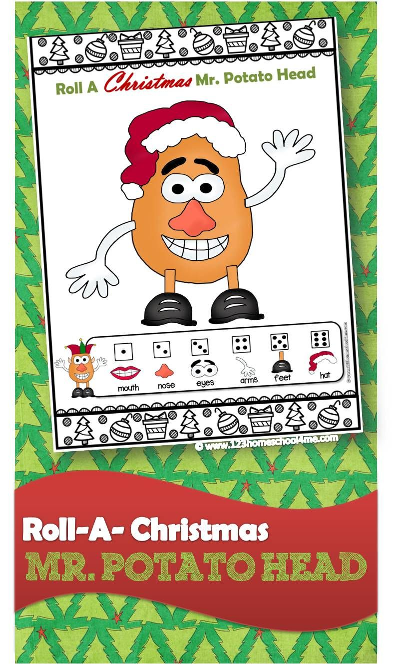 FREE Roll a Christmas Mr. Potato Head | Nadal | Pinterest | Fun ...