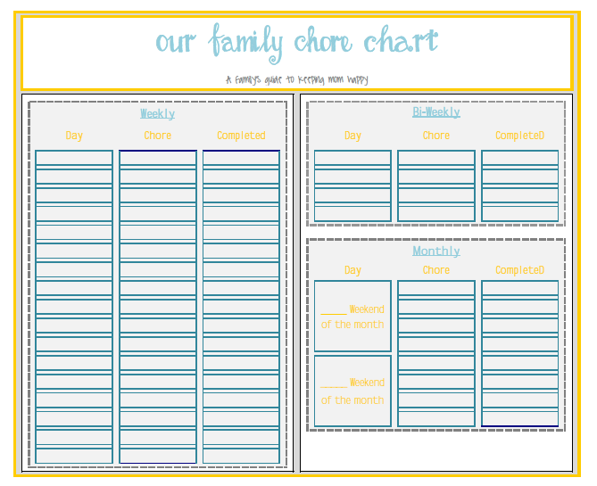 picture regarding Printable Chore Charts Pdf known as Chore Chart and Organizer Percentage Your Craft Spouse and children chore