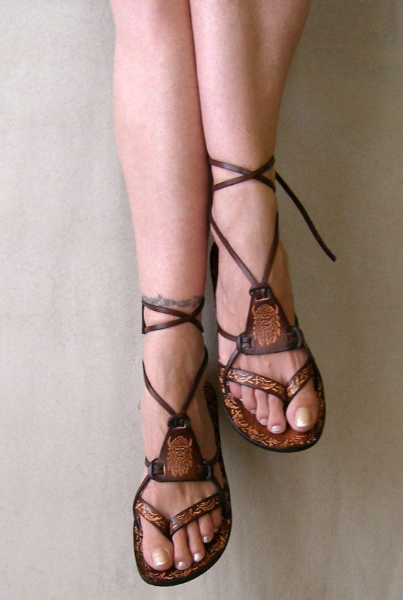 Hippie Boho Sandals Brown Burnished Leather Lace Up