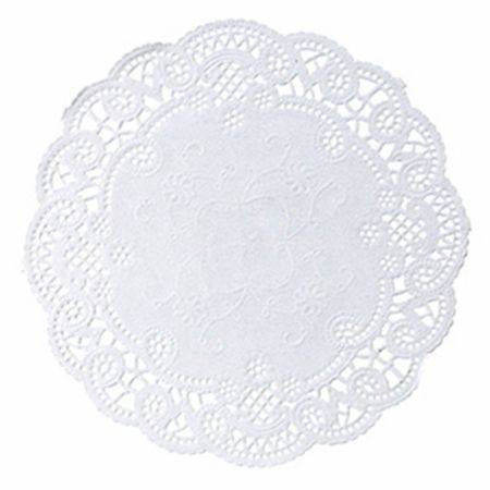"""White French Lace 6"""" Doily sold in quantities of 1000 per case"""