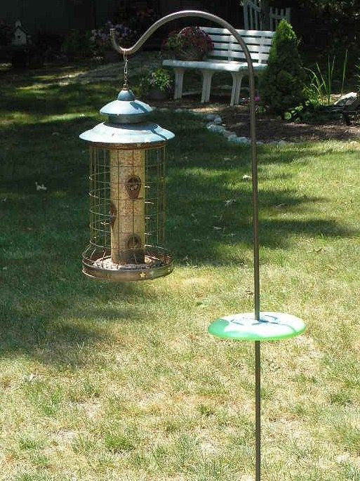Squirrel proof bird feeder  What about those chipmunks          Garden     To keep chipmunks from climbing up your shepherd s hook to get to the  goodies  just drill a hole in the center of a Frisbee  97 cents at Walmart